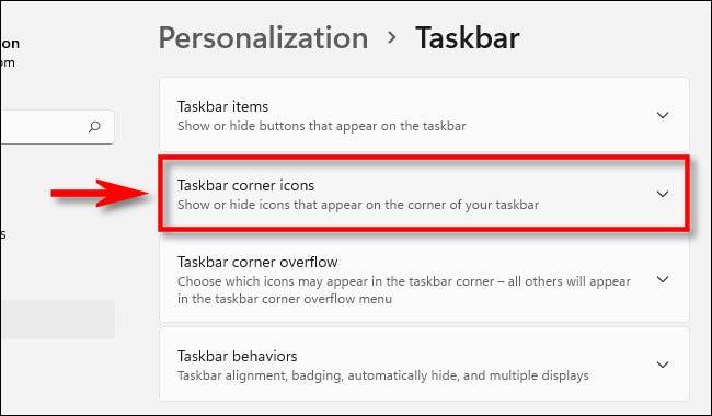 Taskbar corner icons