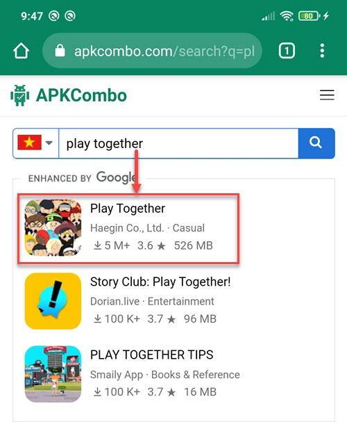 Tìm kiếm Play Together trên APKCombo