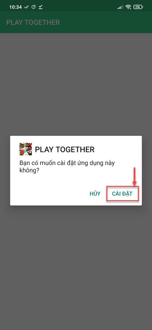 Xác nhận cài đặt Play Together