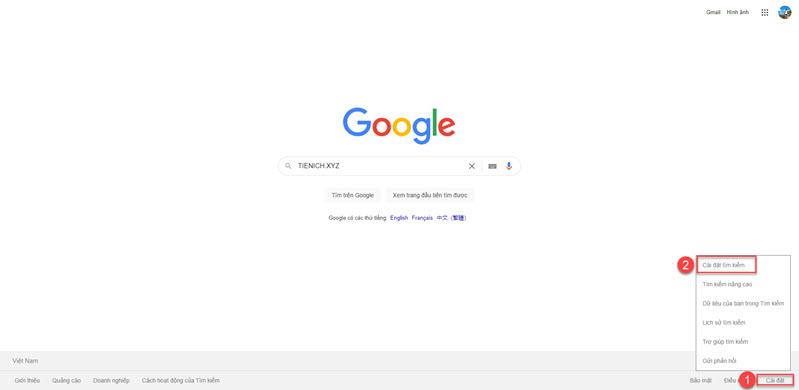 Cách bật dark mode trên google search
