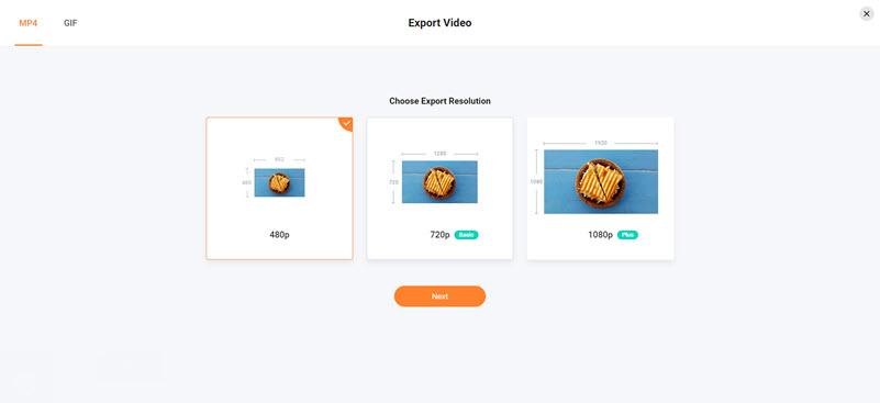 Chọn độ phân giải video Flexclip