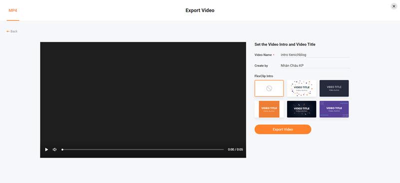 Xuất video Flexclip